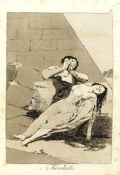 """El título de este aguafuerte es: """"Tántalo"""". Es ungrabadode la serieLos Caprichos. Está numerado con el número 9 en la serie de 80 estampas. Se publicó en 1799. Explicación de esta estampa del manuscrito del Museo del Prado:Si el fuese más galán y menos fastidioso ella reviviría. Esto sucede a los viejos que se casan con las mozas. Una buena hembra al lado de un viejo que no la satisface, tiene deliquios, y es como el que tiene sed, está junto al agua, y no pude gustarla."""