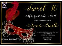 Sweet 16 Masquerade Party Invitation,Quinceanera Masquerade Party Invitation,(11)