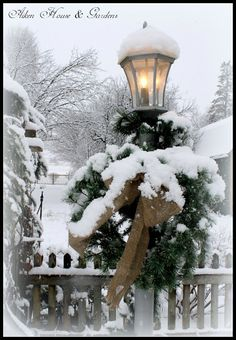 Don't forget to decorate your lamppost. Looks so beautiful with the snow on the greenery.