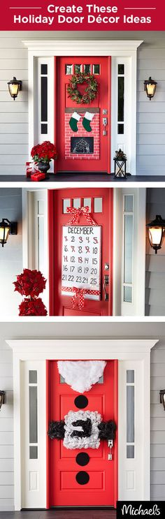 My next years Christmas. Decorate your front door this holiday season. These 3 door décor ideas are simple to make and will be a warm welcome for your holiday guests! Find everything you need for these projects at your local Michaels. Outdoor Christmas, Winter Christmas, Christmas Holidays, Merry Christmas, Holiday Door Decorations, Holiday Decor, Holiday Ideas, Christmas Projects, All Things Christmas