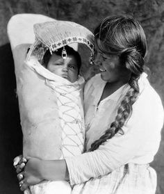 Achomawi woman and child - 1923 Native American Tribal Life  in black and white