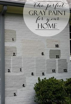 Finding the Perfect Gray Paint for your Home. Real life tale of trials & errors to find the perfect color. Café Exterior, Exterior Gray Paint, House Paint Exterior, Exterior Remodel, Exterior House Colors, Exterior Design, Brick Exterior Makeover, How To Paint A Brick House, Grey Homes Exterior