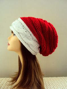 Slouchy Beanie Christmas Hat Santa Hat Knit Winter Hat Baggy Hat Red and White Beret Men Women Clothing Accessories Christmas Gift Ideas by GrahamsBazaar, $39.99
