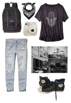 """#casual"" by konstantina98 ❤ liked on Polyvore featuring American Eagle Outfitters, Abercrombie & Fitch, Converse, JanSport, Pottery Barn and Fuji"
