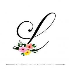 Lettre l Premium Vector Aquarelle Fond Floral L Names, Typography Alphabet, Cool Lettering, Floral Letters, Calligraphy Letters, Photo Logo, Embroidery Art, Getting Organized, Floral Watercolor