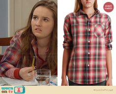 Eve's studded plaid shirt on Last Man Standing.  Outfit Details: http://wornontv.net/30206/ #LastManStanding