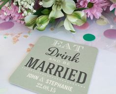 Personalised Wedding Beer Mats (48 pack) by ALittleBitVintageCo on Etsy