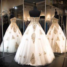 gold lace appliques wedding dresses..