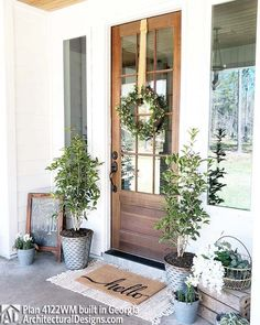 Curb appeal - seasonal entryway - wood door