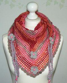 oink grey  Road Trip  scarf crochet triangle by CrochetRagRug