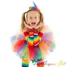 Tutú de cumpleaños del payaso del arco iris... por TutuGorgeousGirl