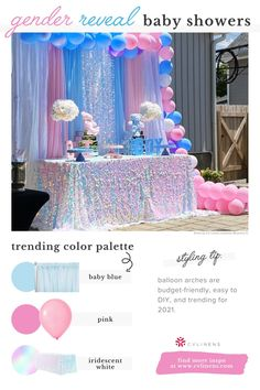 Gender Reveal Party Decorations, Baby Shower Decorations, Wholesale Tablecloths, Pregnancy Gender Reveal, Sequin Tablecloth, Table Set Up, Gift Cake, Blue Balloons, Photo Booth Backdrop