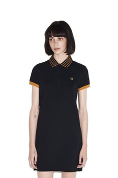 0accccb41fd Fred Perry - Window Pane Check Pique Dress Black Fred Perry Polo Women, Fred  Perry