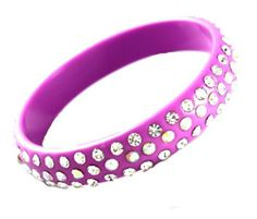 """Trendy, Beautiful 3 Lined Light Purple and Aurora Borealis Swarovski Crystals on Light Weight Resin Bangle Bracelet ~ Medium Size Bracelets by Ks Charming Designs. $17.00. Comes in gift packaging by Ks Charming Designs. Adorned with Beautiful Swarovski Crystals. 2 3/4"""" in Diameter (MEDIUM SIZE) and Just Shy of 1/2"""" Wide. Acrylic/Resin Bangle; Nickel/Lead Free. Bright, Trendy Fashion Cuff Bracelet. Save 39%!"""