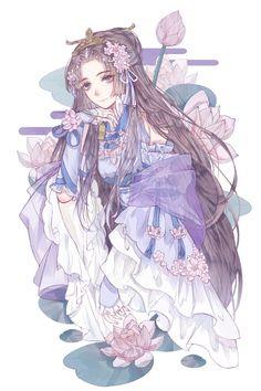 Art by Wenjie. Pretty Anime Girl, Beautiful Anime Girl, Anime Art Girl, Manga Art, Manga Anime, Anime Girls, Fanarts Anime, Anime Characters, Anime Kimono