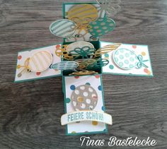 """Card in a Box mit """"Balloon Party"""", Tinas Bastelecke, Stampin' Up! Homemade Birthday Cards, Kids Birthday Cards, Happy Birthday, Card In A Box, Up Balloons, Punch Art, Stamping Up, Art Boards, Scoring Board"""