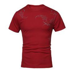 Sale 29% (11.23$) - Men Summer Cotton Polyester Short-sleeved Mesh Tattoo T-shirt
