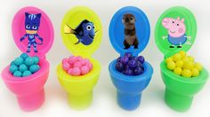 Candy Toilet Surprise Poop Toys for Kids Toddlers and Preschoolers. These little candy toilets are full of candy poop surprise minifigures from Finding Dory PJ Masks and Peppa Pig. This is an educational learning video and channel for toddlers. We open a lot of surprise toys for toddlers babies and kids. We also make a lot of videos of characters from PJ Masks Paw Patrol Secret Life of Pets Spiderman and more!  Subscribe here to never miss a video…