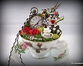 Alice in Wonderlands Tea Cup Garden Cake Topper, Storycup, Centerpiece. $65.00, via Etsy.