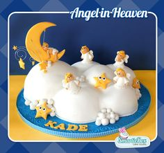 A special cake for a speical sould up in heaven! Angels in Heaven, fluffy cloud, moon and stars Christening Cake Boy, Cloud Cake, Cakes For Boys, Cake Designs, Amazing Cakes, Fun Cakes, Baby Cakes, Birthday Cake, Baby Shower