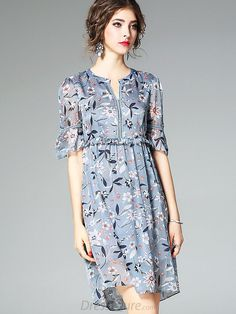 Buy Elegant O-Neck Short Sleeve Floral Print A-Line Dress with High Quality and Lovely Service at DressSure.com