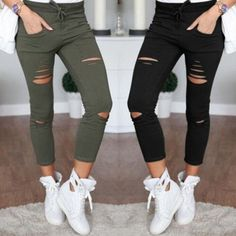 new 2017 Skinny Jeans Women Denim Pants Holes Destroyed Knee Pencil Pants Casual Trousers Black White Stretch Ripped Jeans - TakoFashion - Women's Clothing & Fashion online shop Slim Pants, Trouser Pants, Trousers Women, Pants For Women, Clothes For Women, Casual Pants, Capri Pants, Ladies Pants, Yoga Pants