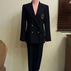 """Ralph Lauren emblem navy pant suit size 6 Petite Vintage 2 piece pant suit from Ralph Lauren  Wool blend In excellent condition  Buttons have slight discoloration  Inseam 28"""", rise 11"""" 27"""" waist NO TRADES Ralph Lauren Jackets & Coats"""