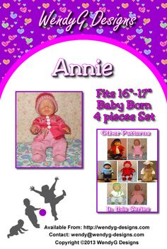 """****ANNIE****  ***KNITTING PATTERN ONLY***  To fit 16-17"""" Baby born or similar size dolls  Pattern contains instructions for Cardigan, trousers, Beanie and Booties"""