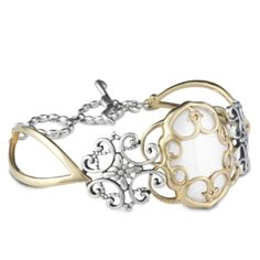 Twilight Mixed Metal and White Agate Toggle Bracelet