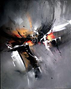 Secret 146  Peint à l'acrylique en dégradé de gris, Couleurs utilisées: noire, blanc, doré, rouge.  Vernis en finissions. Oeuvre de caractère,  tableau lumineux et explosif - 20081924