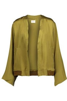 SIMON MILLER WOMAN KOKA TEXTURED SILK-SATIN JACKET GREEN. #simonmiller #cloth #