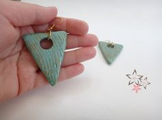 Items similar to Off Triangle Ceramic Earrings / Turquoise CeramicTriangle Stones / Gold Plated Ear Loop / Handmade Earrings on Etsy Boho Earrings, Earrings Handmade, Drop Earrings, Striped Sandals, Stone Gold, Gold Stripes, Ear Loop, Ss 15, Triangle