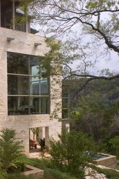 Stone Watersmark House in the Hills of Austin, Texas by Mell Lawrence Architects