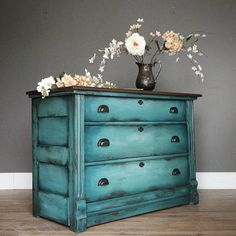 """Rustic three drawer chest in layers of blended turquoise heavily distressed. Measures 20x35, 31"""" tall. $315, available now and we are open…"""