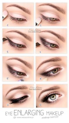 Eye enlarging makeup tutorial. This image from wizazonline.pl is great! Get those eyes bigger and more beautiful than ever with mascara, liner and more from Duane Reade!