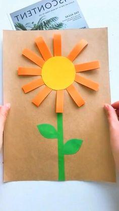 Paper Crafts Origami, Paper Crafts For Kids, Craft Activities For Kids, Preschool Crafts, Fun Crafts, Paper Flowers For Kids, Hand Crafts For Kids, Art For Kids, Art Drawings For Kids