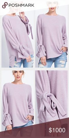 💜Gorgeous💜Mauve Loose Gauge Top. S-L Solid Loose Gauge Knit Top Features Ribbon Tied Sleeves And Side Vented Hem In A Relaxed And Comfy Fit.  Made in USA 🇺🇸 Available in S-L Tops Tunics