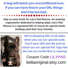 """Lily's Pad Rescue is an amazing organization helping special needs pups. Because their pups are """"diaper dogs"""", many with spina bifida, they are always in need of funds for supplies and medical care. Help us help them! You'll receive 15% off and they'll receive 25% of our sales when you use coupon code LILYPAD at our Etsy shop   Be sure to stop by their page and check out Lily, Huck, Wilbur and the pad!"""