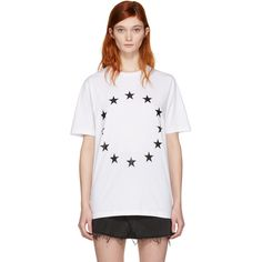 Etudes White Page Europa T-Shirt ($82) ❤ liked on Polyvore featuring tops, t-shirts, white, white short sleeve t shirt, white tops, white graphic tees, short sleeve tee and graphic t shirts