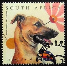 Africanis dog Handmade Postage Stamp Art by PassionGiftStampArt
