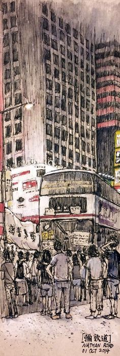 Ming Kok pocket - Artists Mobilize to Capture Hong Kong's Umbrella Movement in Pen and Ink