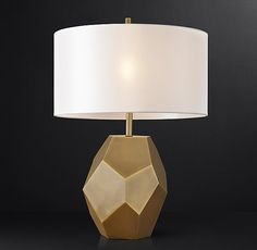 """Faceted Table Lamp Base: 8¾""""W x 10""""D x 15""""H   plus shade"""