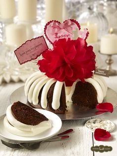 """One of the easiest (and sweetest!) ways to say I love you: a """"Love You to Pieces"""" bundt cake from Nothing Bundt Cakes. 