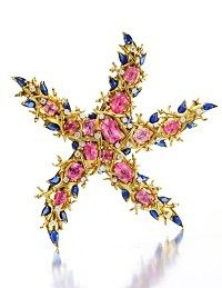 Tourmaline, sapphire and diamond starfish brooch by Jean Schlumberger. Designed as a sculpted gold starfish, set with oval-cut pink tourmalines with circular-cut diamond detail and pear-shaped sapphire trim, mounted in gold and platinum, circa All That Glitters, Animal Jewelry, Pink Tourmaline, Diamond Cuts, Vintage Jewelry, Antique Jewelry, Fine Jewelry, Jewelry Box, Creations