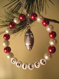 Kansas City Chiefs Glass Beaded Tree Rings / Ornaments by FoxyFundanglesByCori, $5.00