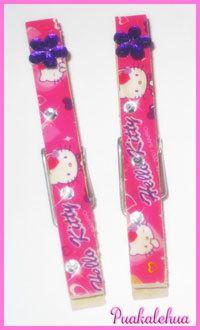 Hello Kitty and Bling Altered Clothespins by kawaiislandgurl72, $3.50