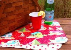 Glamping Oilcloth Placemat Set - Red and White Polka Dot and Glamping Laminated Cotton on Etsy, $18.00