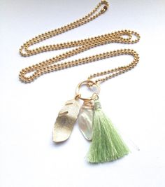 Long Necklace with Tassel  Necklace with Gold Feather  by Annyse, £18.50