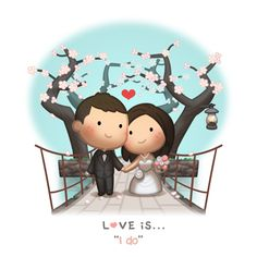 """Love is """"i do"""" Cute Love Images, Cute Love Stories, Love Pictures, Hj Story, Love Cartoon Couple, Love Couple, Chibi Couple, Ah O Amor, Cute Romance"""