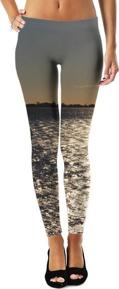 Ocean Sunset Leggings. We took this picture on the way back home from our drive along the Washington coast. The shimmering water and light orange sunset, make for a beautiful pair of leggings. Soft and comfy too!